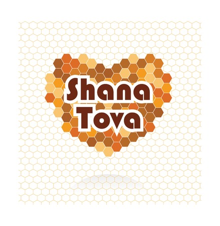 beeswax: happy new year in Hebrew. Rosh Hashana greeting card. vector illustration Illustration