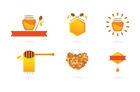 honey cell: Set of honey labels, icons and design elements.vector illustration