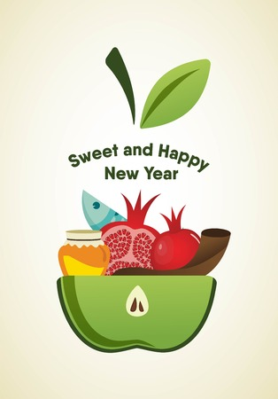 apple slice with Rosh Hashanah symbols. vector illustration