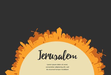 Holy City, Middle East Town, Jerusalem Vector illustration Vetores