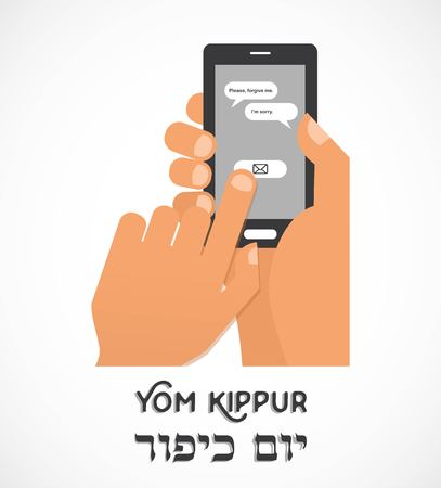 yom: hand holding a smartphone and sending traditional message for Jewish holiday Yom Kippur . illustration