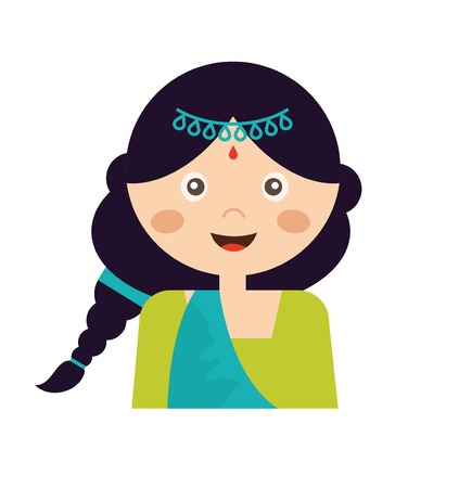 sari: Illustration of the face of an Indian girl in colorful sari. vector illustration Illustration