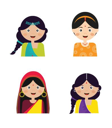 indian teenager: Illustration of the face of an Indian girls in colorful sari, vector illustration Illustration