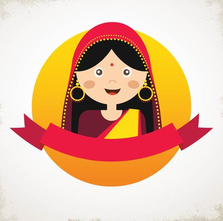 earings: Illustration of the face of an Indian girl in colorful sari. vector illustration Illustration
