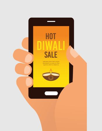 suggestion: hand holding mobile phone with Diwali offer sale suggestion. VECTOR design illustration