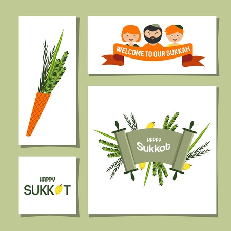 succot: set of greeting cards for Jewish holiday Sukkot.