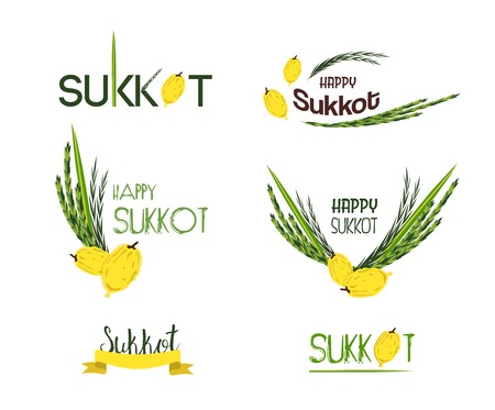 sukkah: Vector collection of labels and elements for Sukkot, Jewish Traditional Holiday. Icons and badges with signature Happy Sukkot, Happy Holiday. illustration