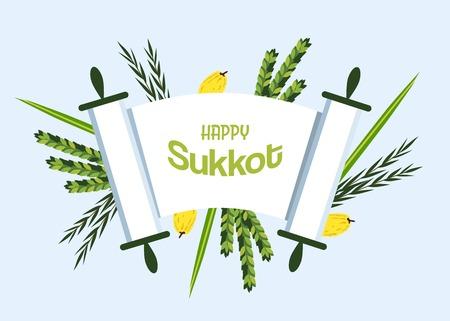 Jewish holiday Sukkot. torah with Lulav, ,Etrog, Arava and Hadas. Four species symbols date palm, citron, willow, myrtle illustration