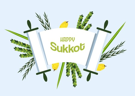 rosh: Jewish holiday Sukkot. torah with Lulav, ,Etrog, Arava and Hadas. Four species symbols date palm, citron, willow, myrtle illustration