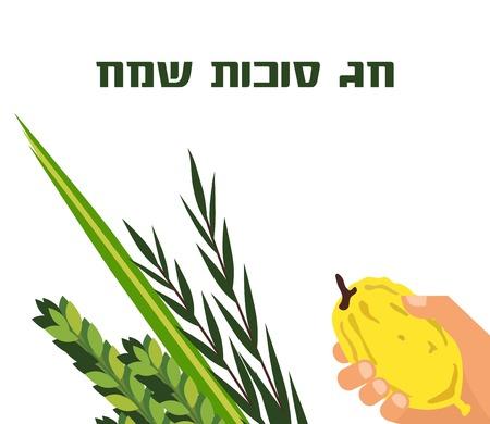 Jewish holiday Sukkot. torah with Lulav, ,Etrog, Arava and Hadas. Four species symbols date palm, citron, willow, myrtle vector illustration. happy Sukkot in Hebrew Illustration
