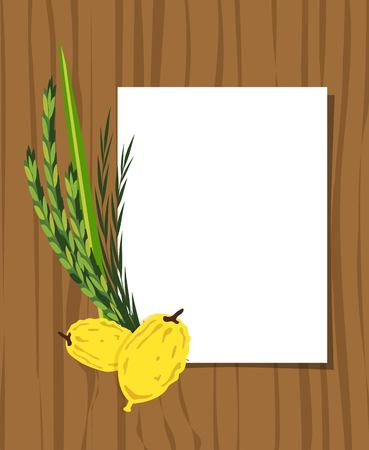 Jewish holiday Sukkot. torah with Lulav, ,Etrog, Arava and Hadas. Four species symbols date palm, citron, willow, myrtle vector illustration Ilustração