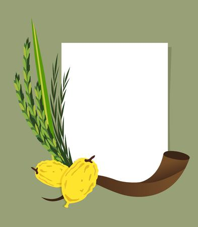 sukkoth festival: Jewish holiday Sukkot. torah with Lulav, ,Etrog, Arava and Hadas. Four species symbols date palm, citron, willow, myrtle vector illustration Illustration