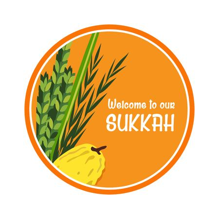 sukkoth: welcome sign for traditional Jewish holiday Sukkot. vector illustration