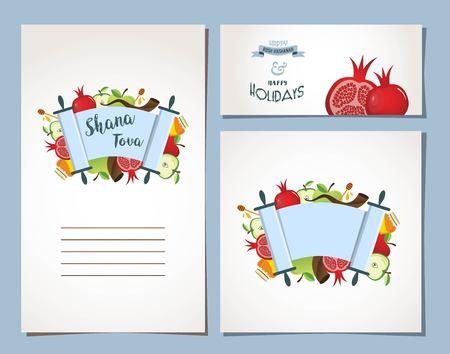 hashana: card for Jewish holiday Rosh Hashana with traditional symbols. vector illustration