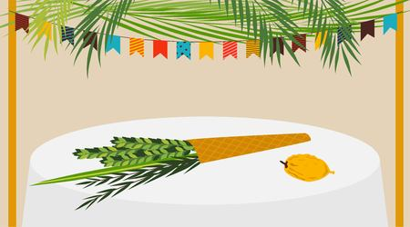 zion: A Vector illustration of a Sukkah decorated with ornaments for the Jewish Holiday Sukkot. vector illustration
