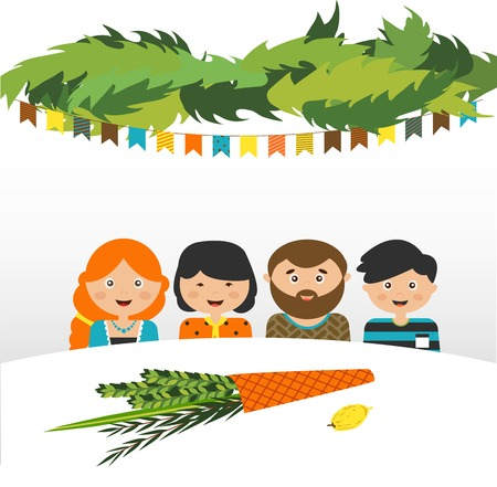 family holiday: family in the sukkah . sukkot Jewish holiday. vector illustration