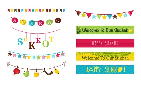 Colorful bunting and garlands for Jewish holiday Sukkot. illustration