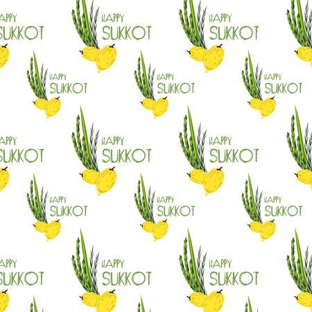 plants species: modello Sukkot con i simboli tradizionali Lulav, etrog, Arava e Hadas palma da dattero, cedro, salice, mirto. Festa ebraica. Quattro specie.
