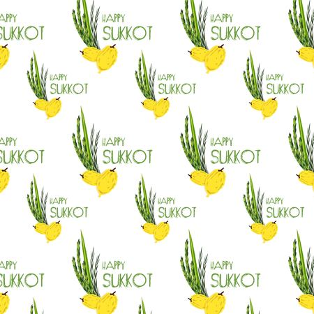citron: Sukkot pattern with Lulav ,Etrog, Arava and Hadas traditional symbols date palm, citron, willow, myrtle. Jewish Holiday. Four species.