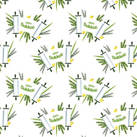 plants species: festa ebraica di Sukkot. torah con Lulav,, Etrog, Arava e Hadas. Quattro simboli specie di palme da dattero, cedro, salice, illustrazione di mirto Vettoriali