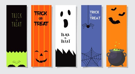 Set Of 5 Happy Halloween Greeting Cards or Flyers. Vector Illustration. Party Invitation Design with Emblem.