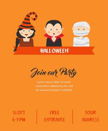 october 31: Happy Halloween. Set of cute cartoon children in colorful halloween costumes.vector illustration