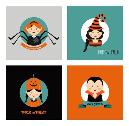 october 31: Set of 16 halloween costume characters , vector illustration Illustration