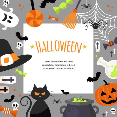 Halloween Background. Vector Illustration. Flat Halloween Icons with Square Frame. Trick or Treat Concept. illustration