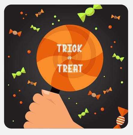 trick or treat: Halloween trick or treat card design card. Vector illustration Illustration