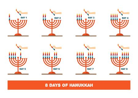 judaical: lightning candles for jewish holiday , hanukkah. vector illustration Illustration