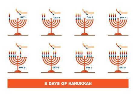 chanukiah: lightning candles for jewish holiday , hanukkah. vector illustration Illustration