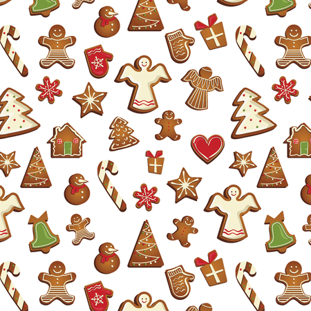 vector pattern with gingerbread cookies. vector illustration