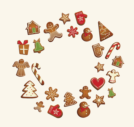 homemade bread: Gingerbread cookies set arranged in as holiday round frame. vector illustration