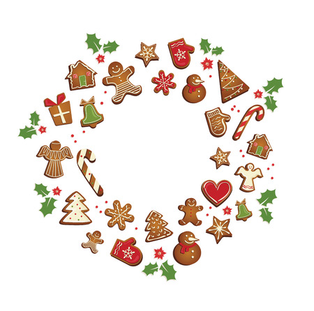 Gingerbread cookies set arranged in as holiday round frame. vector illustration