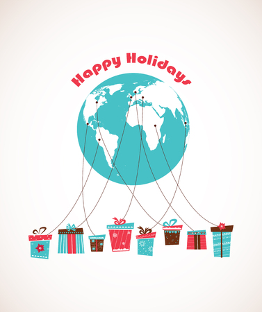 shipped: Global Holiday season. world wide gift delivery. vector illustration Illustration