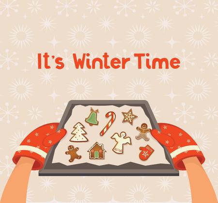Bakplaat met kerst zelfgemaakte peperkoek cookies achtergrond. vectorillustratie