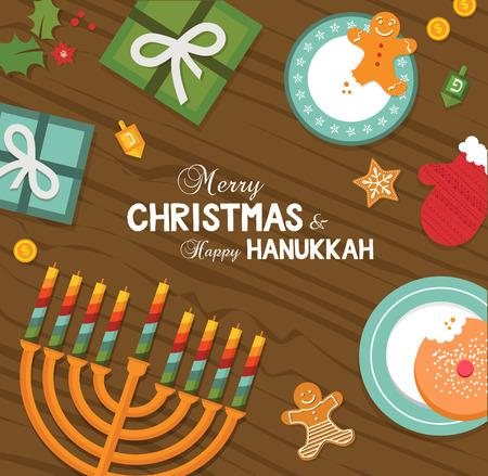 happy christmas: merry christmas and happy hanukkah celebration. vector illustration