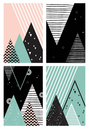 유행: 산, 나무와 삼각형 추상 형상 스칸디나비아 스타일 패턴. 벡터 일러스트 레이 션