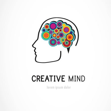 the mind: Creative, digital abstract colorful icon of human brain, mind, symbol Stock Photo