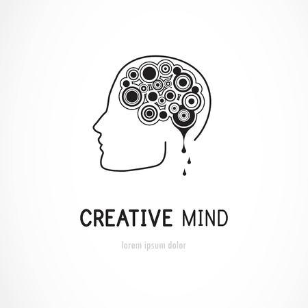 mente humana: Creativo de la mente - vector de negocios plantilla de logotipo ilustración del concepto. signo cerebro humano abstracto.