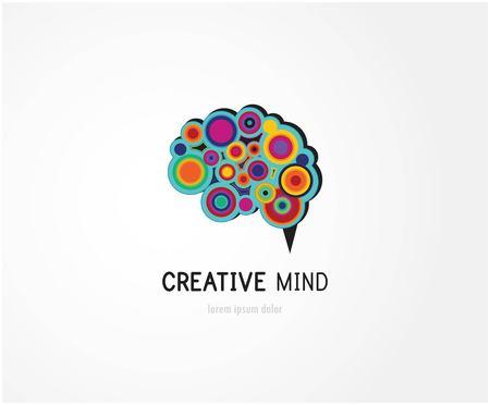 creative brain: Creative, digital abstract colorful icon of human brain, mind,  symbol Stock Photo