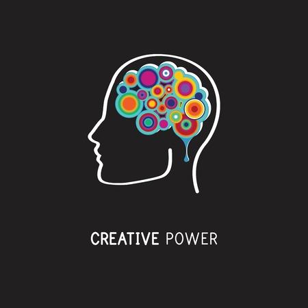 mente humana: Creativo, extracto digital colorido del icono de cerebro, mente, símbolo humano