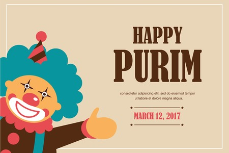 happy Purim, Jewish holiday. vector illustration of a happy clown. poster template