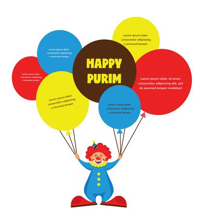 happy Purim, Jewish holiday. vector illustration of a  clown holding baloons