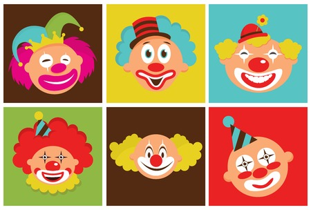 red hair: set of colorful clowns Illustration
