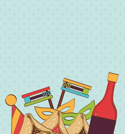 template design with traditional objects for Jewish holiday Purim. vector illustration Ilustrace