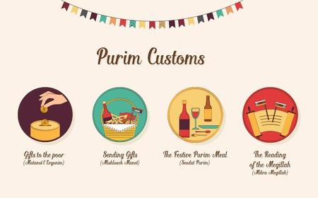 伝統: symbols of Jewish holiday purim. infographics design