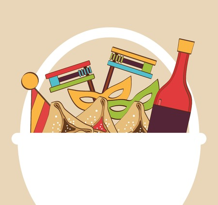 jewish holiday: traditional gift basket for Jewish holiday Purim
