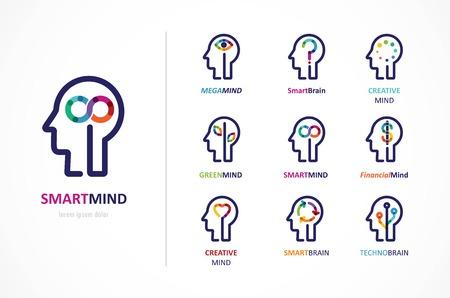 creative brain: Brain, Creative mind, learning and design icon. Man head, people symbol