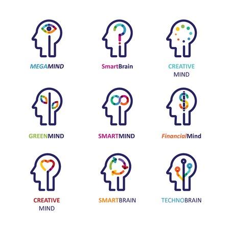 Cerebro, la mente creativa, el aprendizaje y el diseño de iconos. La cabeza del hombre, símbolo de la gente Ilustración de vector